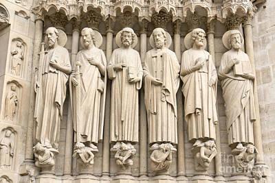 Dernier Photograph - Statues Of Saints On Notre Dame Facade by Fabrizio Ruggeri