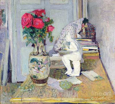 Statuette By Maillol And Red Roses Art Print by Edouard Vuillard
