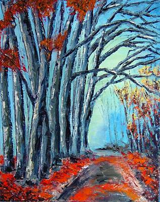 Stay On The Path. Palette Knife Oil Painting. No Brush. Art Print