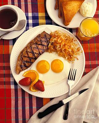 Steak And Eggs Breakfast Two Art Print by Vance Fox