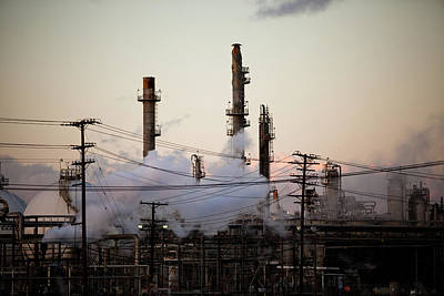 Steam Plumes At Oil Refinery Print by Hal Bergman