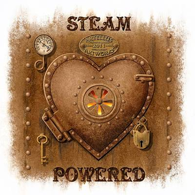 Vintage Style Painting - Steam Powered Heart by Artellus Artworks