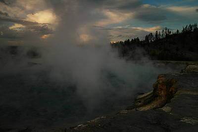 Steam Rising From Hot Springs  Art Print by Jeff Swan