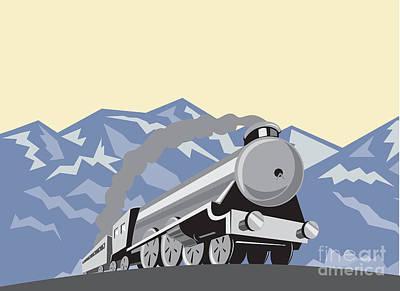 Truck Art - Steam Train Locomotive Mountains Retro by Aloysius Patrimonio