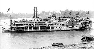 Steamboat Photograph - Steamboat 'island Queen' 1906 Bw by Padre Art