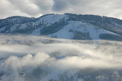 Photograph - Steamboat Ski Area In Clouds by Don Schwartz