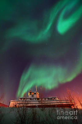 Steamboat Under Northern Lights Print by Priska Wettstein