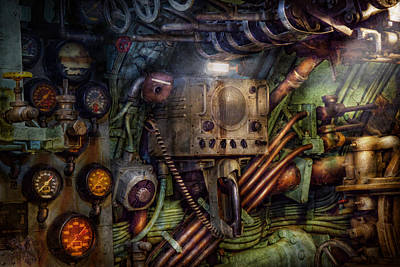 Steampunk - Naval - The Comm Station Art Print by Mike Savad