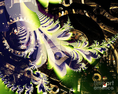 Julia Set Digital Art - Steampunk Abstract Fractal . S2 by Wingsdomain Art and Photography