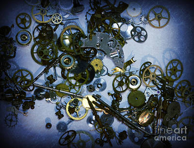 Watch Parts Photograph - Steampunk Gears - Time Destroyed by Paul Ward