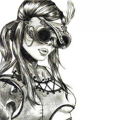 Sketch Photograph - Steampunk Girl 1 by Andres R