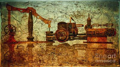 Digital Art - Steampunk Machine by Jutta Maria Pusl