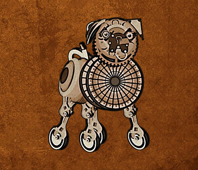 Pug Digital Art - Steampunk Pug by Mary Ogle