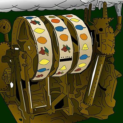 Drawing - Steampunk Slot Reels by Casino Artist