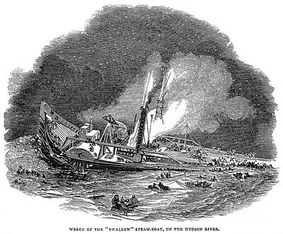 Steamship Accident, 1845 Art Print
