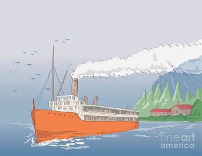 Steamship Steamboat Vintage Print by Aloysius Patrimonio