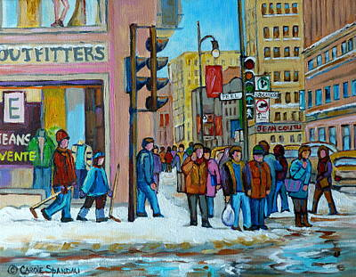Ste.catherine And Peel Streets Art Print by Carole Spandau