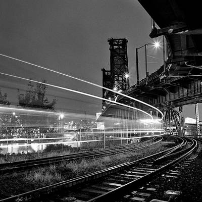 Steel Bridge With Train Passing Art Print