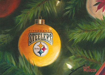 Painting - Steelers Ornament by Joe Winkler