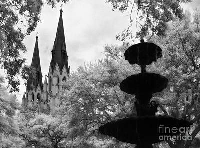 Savannah Infrared Photograph - Steeples And Fountain by Jeff Holbrook
