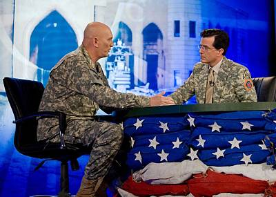 Stephen Colbert Interviews Marine Art Print by Everett