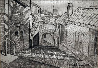 Streetscape Drawing - Stepped Ramp Porto Portugal by Lester Glass