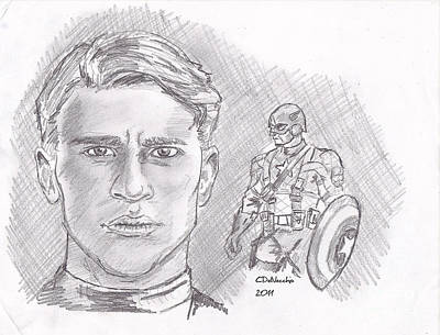 Drawing - Steve Rogers- Captain America by Chris  DelVecchio