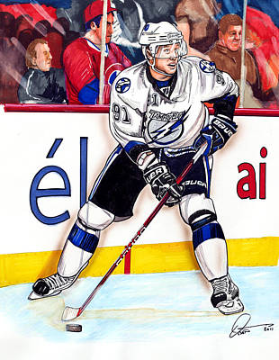 Nhl Hockey Drawing - Steven Stamkos by Dave Olsen