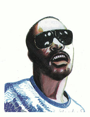 Stevie Wonder Art Print by Emmanuel Baliyanga