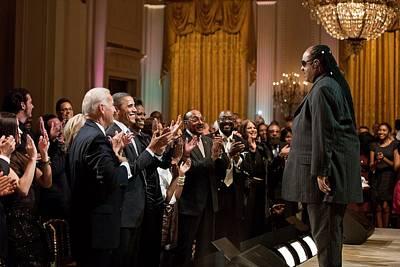 Barack Obama Photograph - Stevie Wonder Receives A Standing by Everett
