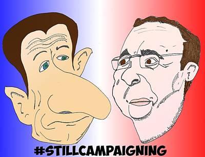 Binary Options News Cartoon Mixed Media - Still Campaigning by OptionsClick BlogArt