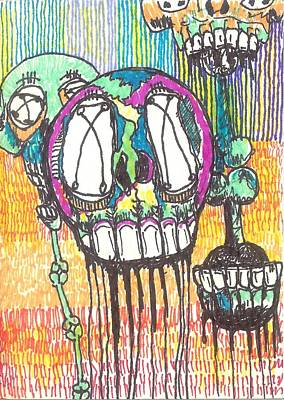 Neo Expressionism Drawing - Still Floating Around by Robert Wolverton Jr