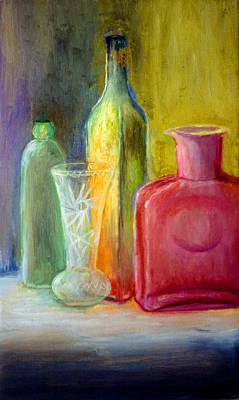Still Life Bottles And Vase Art Print