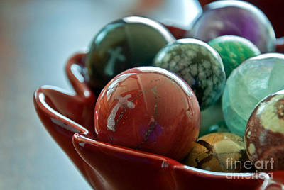 Photograph - Still Life Crosses Reflected In Bowl Of Glass Marbles Art Prints by Valerie Garner