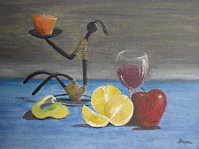 Candle Stand Painting - Still Life by Deepa Sarwate