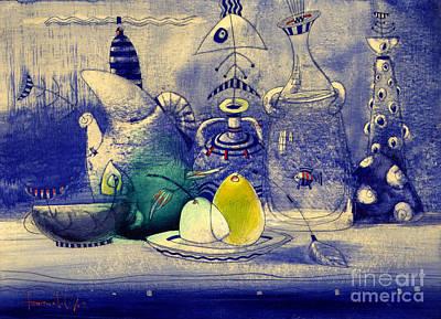 Still Life Mixed Media - Still Life In Blue by Svetlana and Sabir Gadghievs