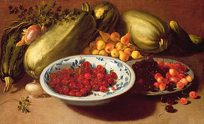 Fruit Bowl Painting - Still Life Of Cherries - Marrows And Pears by Italian School