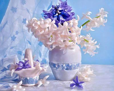 Still Life Of Purple And Light Pink Hyacinths Art Print