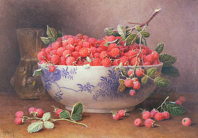 Of Fruit Painting - Still Life Of Raspberries In A Blue And White Bowl by William B Hough