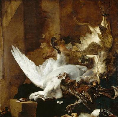 Baptist Painting - Still Life With A Dead Swan by Jan Weenix
