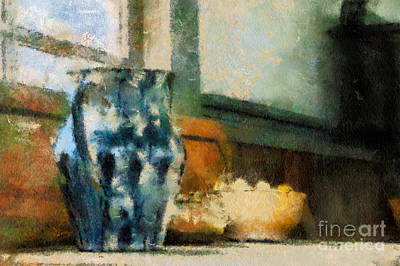 Digital Art - Still Life With Blue Jug by Lois Bryan