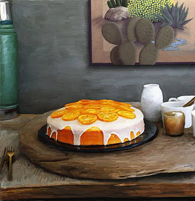 Cactus Digital Art - Still Life With Cake And Cactus by Snake Jagger