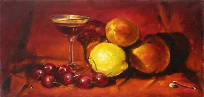 Still Life Painting - Still Life With Cherries by Irek Szelag