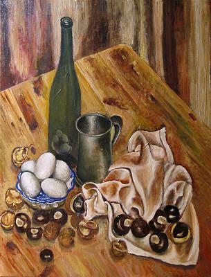 Still Life With Chesnuts And Eggs Art Print by Vladimir Kezerashvili