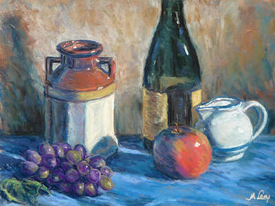 Wine-bottle Painting - Still Life With Crock And Apple by Michael Camp