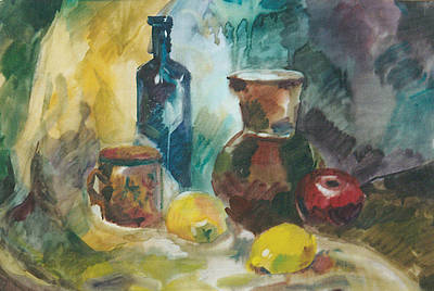 Painting - Still-life With  Dark Blue Bottle by Juliya Zhukova