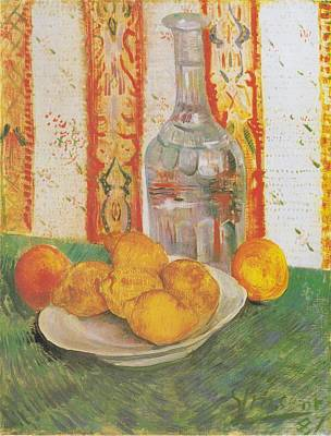 Still Life With Decanter And Lemons On A Plate Art Print