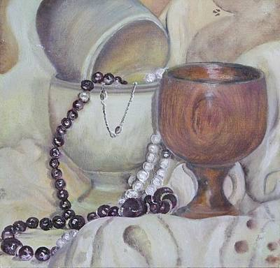 Wood Necklace Painting - Still Life With Egg Cups And Beads - Ppsl-0009 by Pat Bullen-Whatling