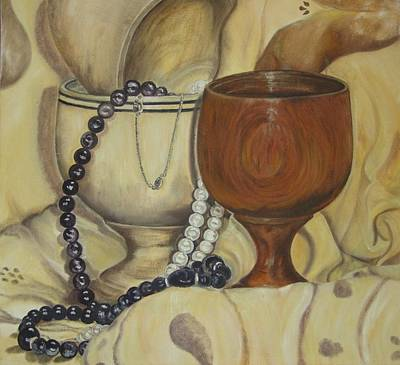 Wood Necklace Painting - Still Life With Egg Cups And Beads-003-ppsl0003 by Pat Bullen-Whatling