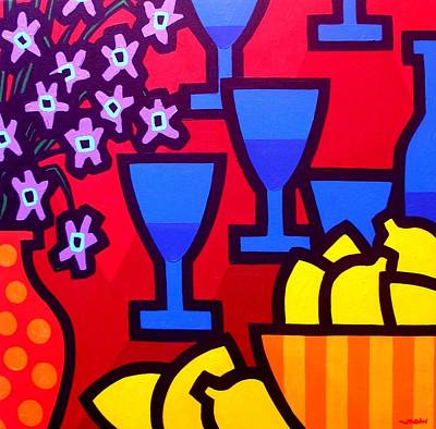 Dot Painting - Still Life With Five Blue Glasses by John  Nolan